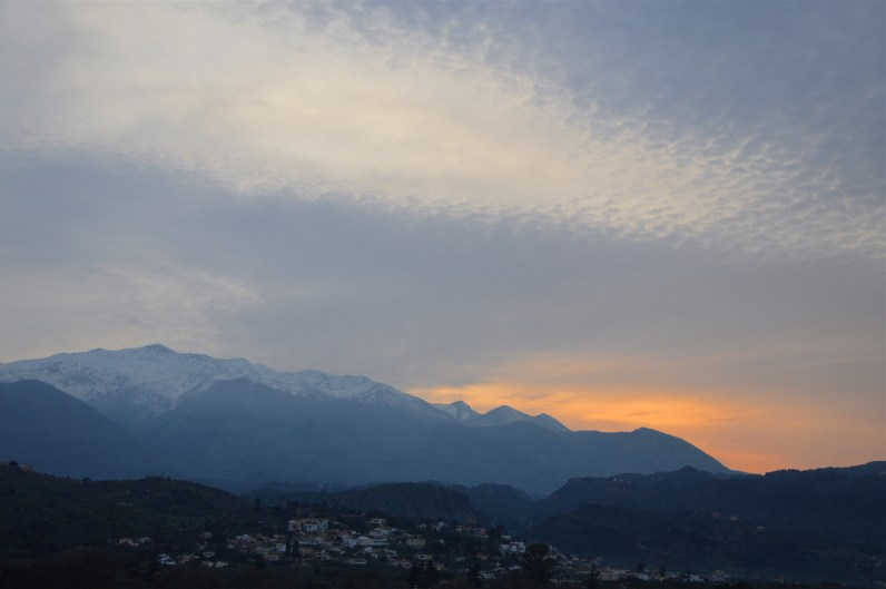 As the sun goes down over the White mountains of Crete