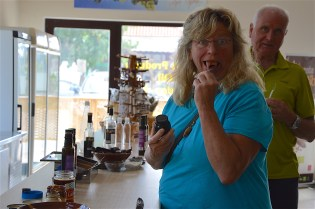 Susanne Raschke trying carob paste at Creta Carob