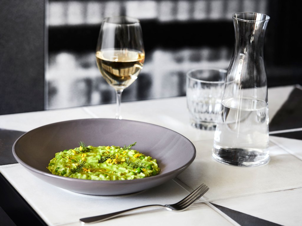 Broadbean and pea risotto, Grana Padano emulsion, mint