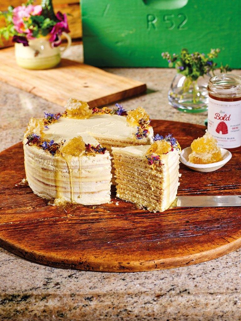 Honey Cake with dried flower petals, raw Australian honeycomb