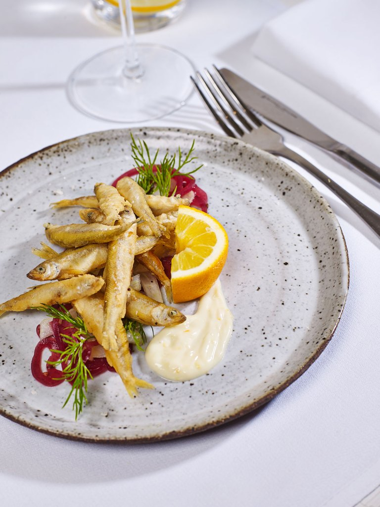 Crispy White Bait with Meyer Lemon Aioli, Pickled Golden Shallots & Fennel