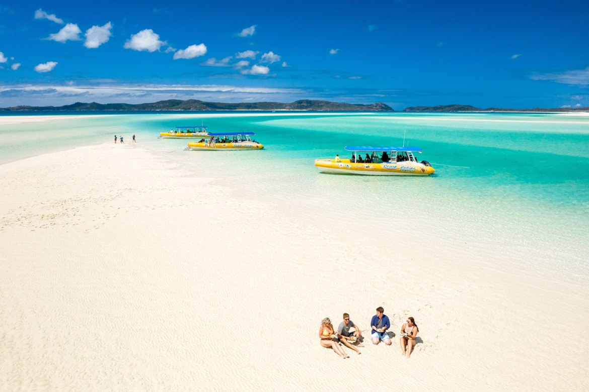 The 98% pure white silica sand and Ocean Rafting fleet at Hill Inlet