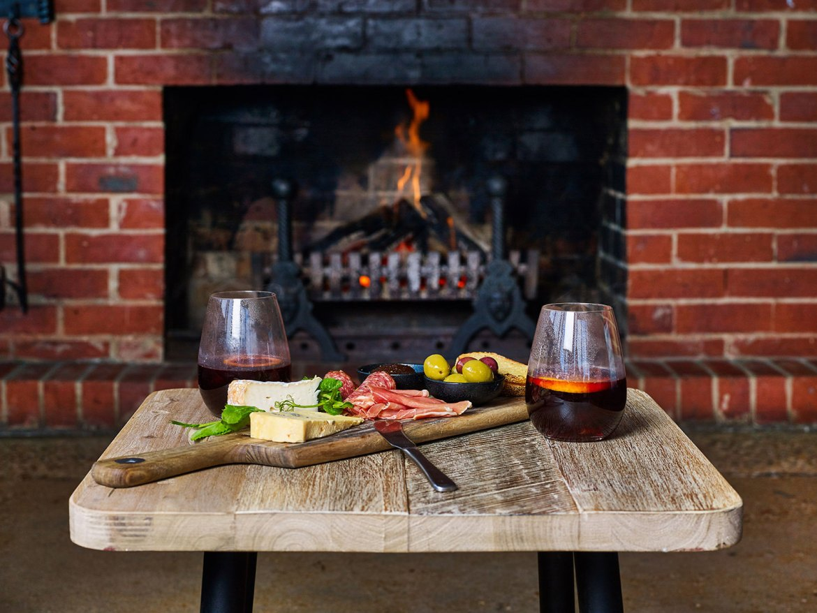 Gluhwein - mulled wine with a simple yet well-curated charcuterie board