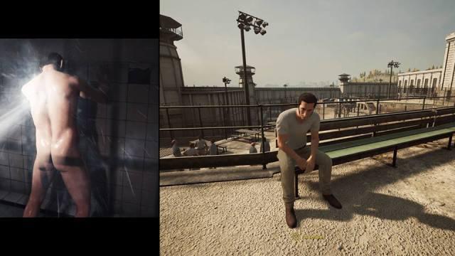 Les premières minutes de A Way Out se déroulent en prison. On y retrouve immédiatement de nombreuses activités ludiques et gratifiantes, comme sécher sur un banc, ou montrer son cul à toute la prison, pendant qu'un maton vous asperge de flotte...