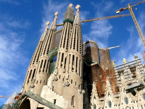 Sagrada Familia, the Passion Facade. The style of the basilica is borrowed from Gothic churches.