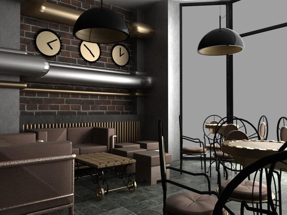 Steampunk interiors for Cyberpunk interior design