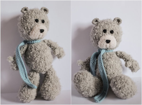 grey hand knitted bear