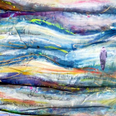 Tra onde e vibrazioni - tecnica mista su tessuto drappeggiato - cm. 60 x 60