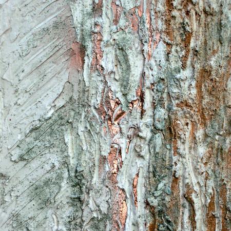 Guglie - terre, resine naturali e bronzina su tavola - cm. 40 x 90
