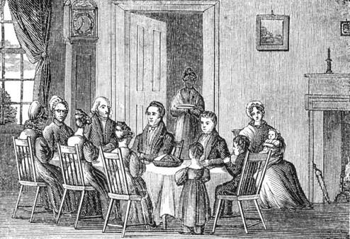 Family dinner in the 1820s.