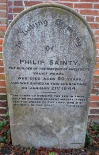 Philip Sainty's headstone in the churchyard at St. Mary's. Smuggling and bigamy not mentioned.