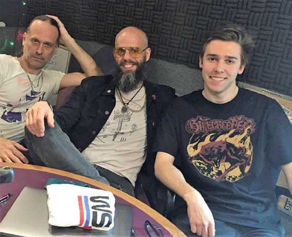 Members of Baroness spin music for WSOU-FM listeners