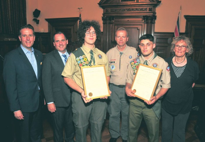 Two Nutley Scouts honored by freeholders in Newark