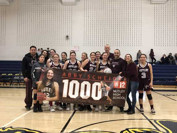 Nutley HS girls basketball star Abby Scheidel scores 1,000th career point