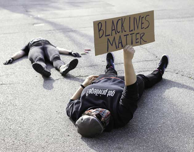White accomplices stage die-in to protest white supremacy