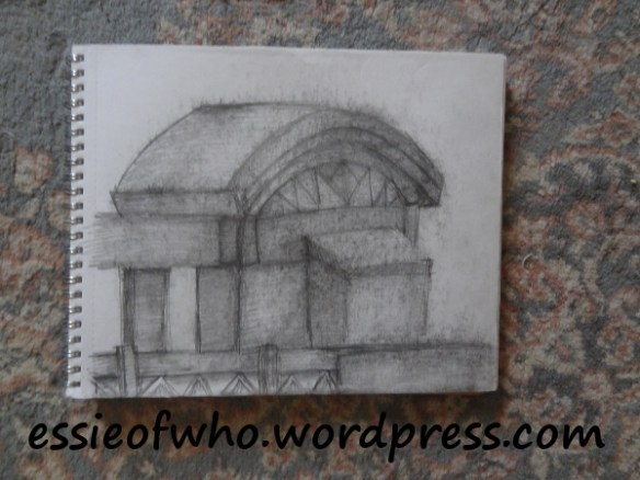Chase Field in Phoenix, Arizona. Sketch done on drawing paper using .7 mechanical pencil.