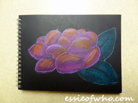 black paper sketch flower 3