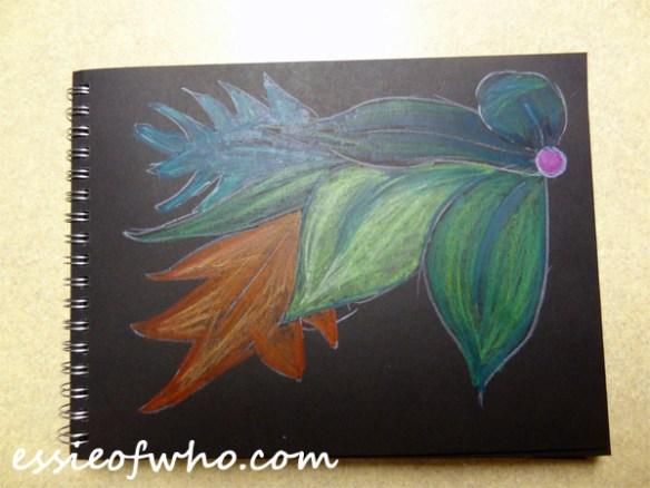 black paper sketch leaves
