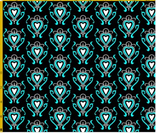 heart damask fabric design 10