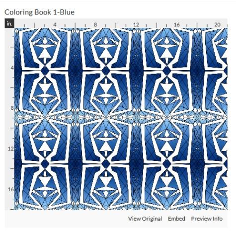 coloring book 1 blue fabric design