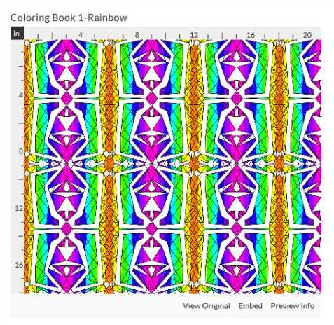 coloring book 1 rainbow fabric design