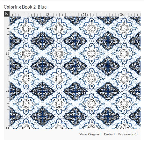 coloring book 2 blue fabric design