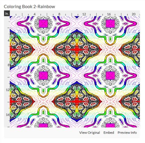 coloring book 2 rainbow fabric design