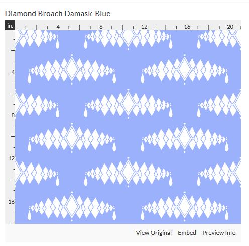 diamond broach blue fabric design