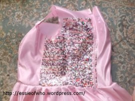 Sequin sewing progress of the first try of the dress bodice