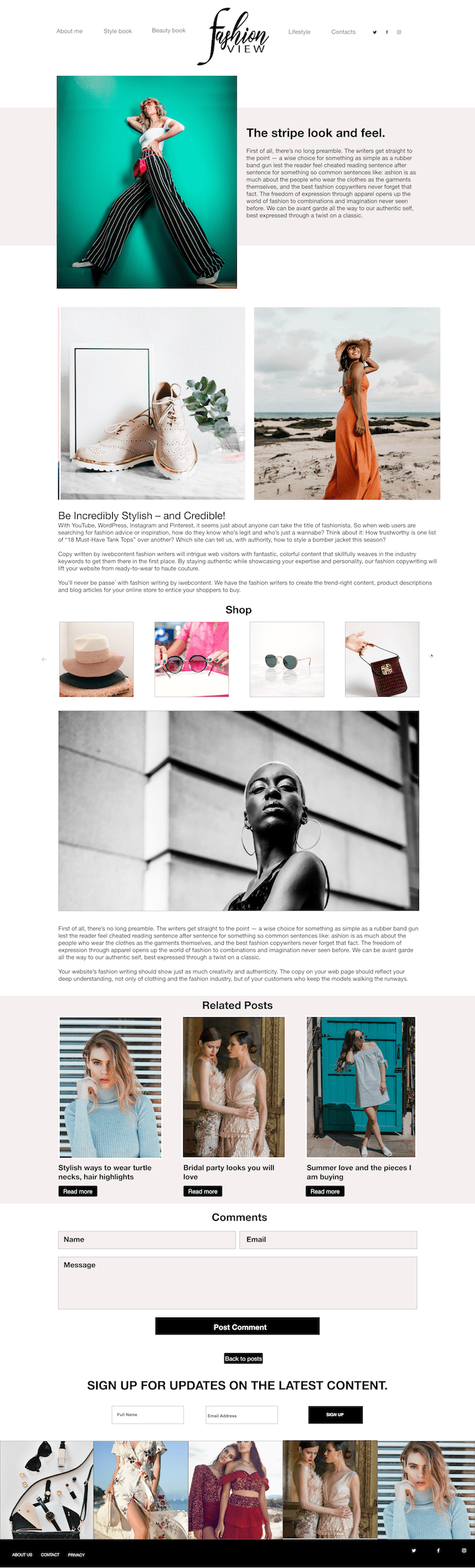 Homepage for fashion blogger website