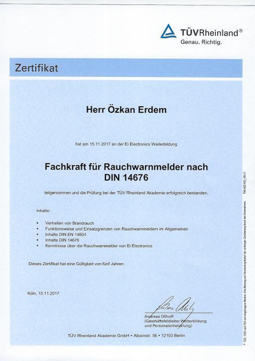Rauchmelder Zertifikat (Tüv)