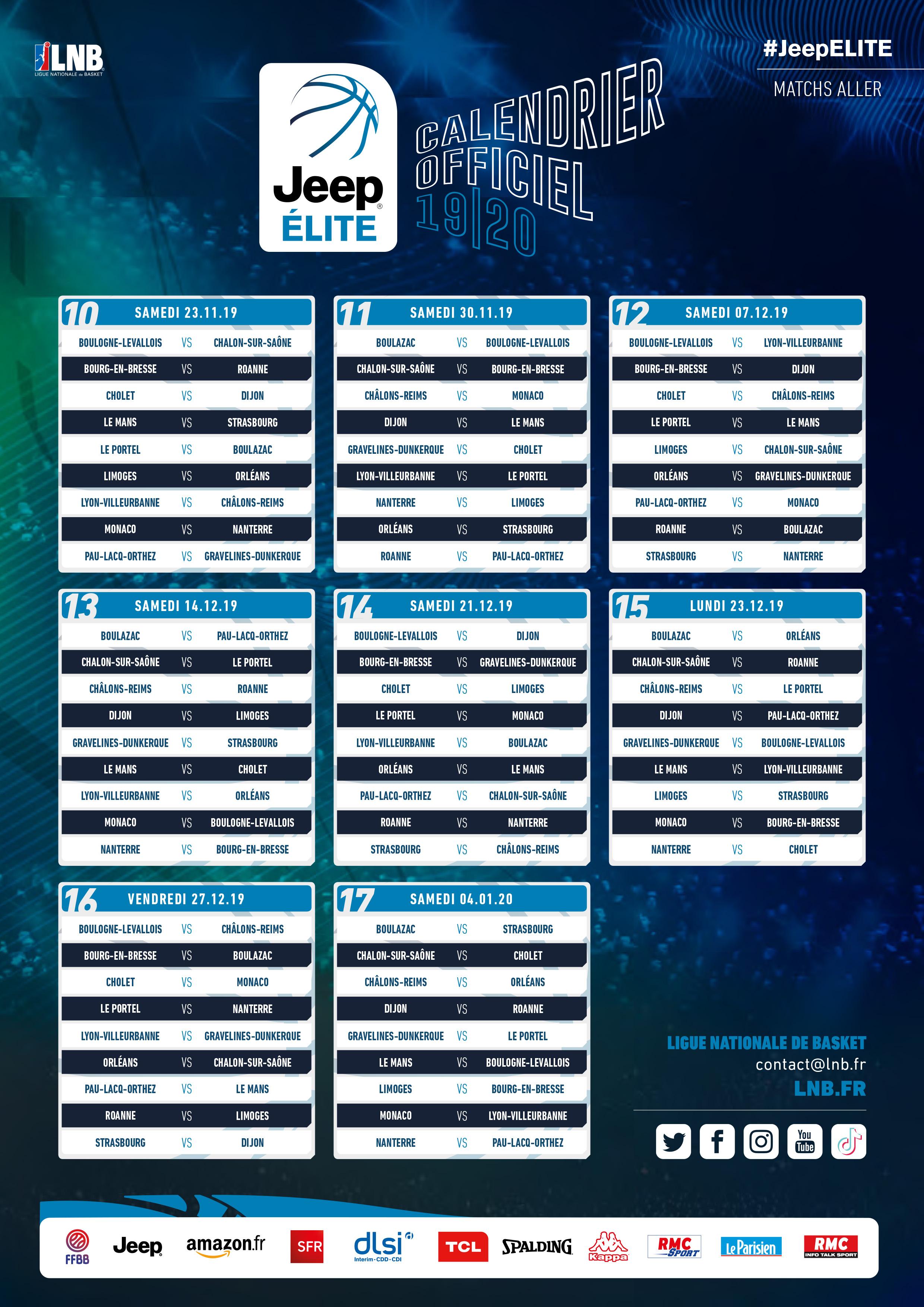 Saison 2019 2020 : Le calendrier Jeep Élite dévoilé | ESSM Le