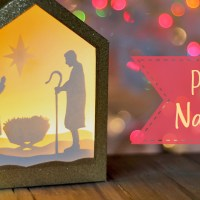 DIY Paper Shadowbox Nativity Scene + Free SVG Cut File!