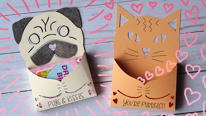 Cute Cat and Pug Candy Holder Valentine Tutorial