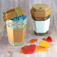 3D Coffee Cup Paper Gift Box Tutorial!