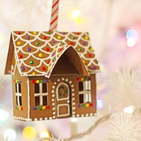 Paper Gingerbread House Ornament
