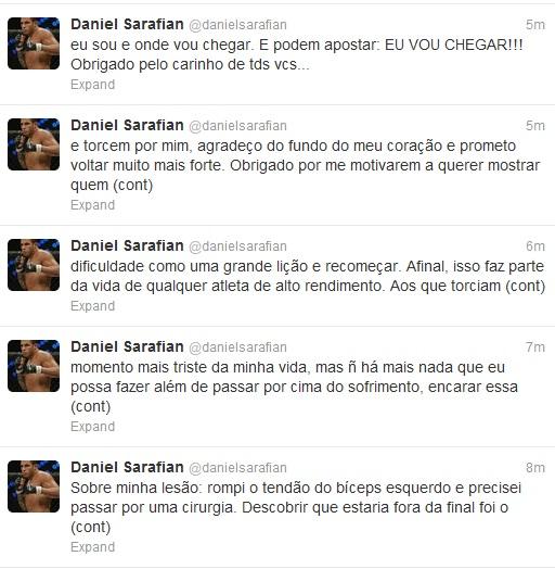 Daniel Sarafian, lesão, twitter