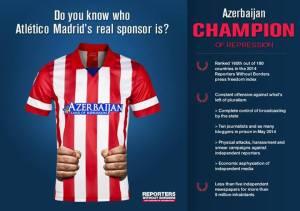 """Organização """"Repórteres Sem Fronteiras"""" denuncia a prática azeri de utilizar o esporte para promover o país e esconder o cerceamento à liberdade de expressão e prisão de jornalistas no país"""