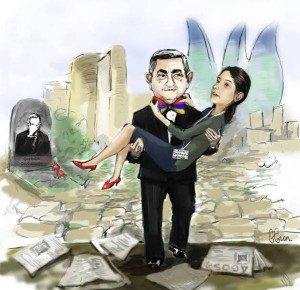 Desenho que circulou na internet de Geybullayeva nos braços do presidente armênio com o túmulo de seu pai ao fundo