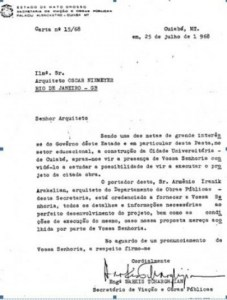 Carta a Oscar Niemeyer