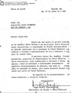Carta a Oscar Niemeyer