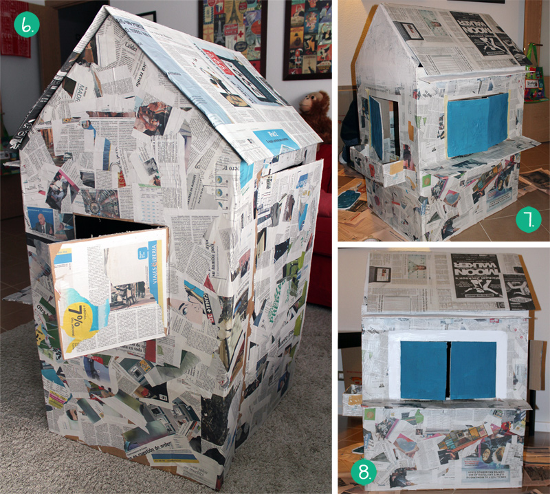 Cómo hacer una casita de cartón, empapelar y pintar