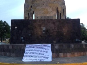 Narcomanta en Guadalajara. Foto: Especial