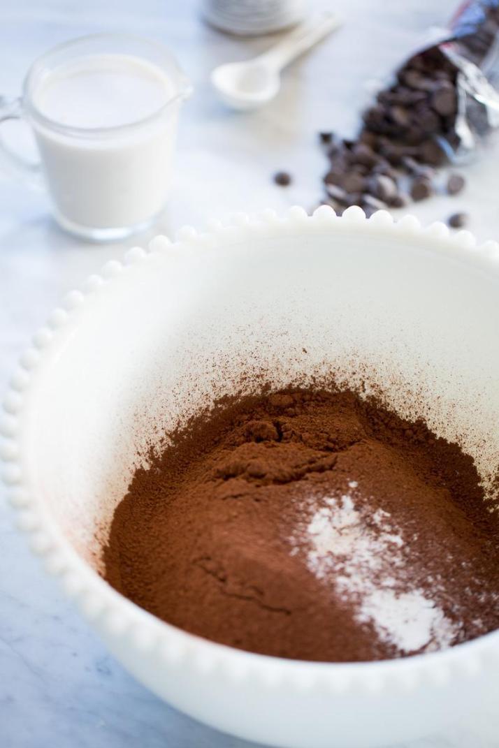 Receta de pancakes, hotcakes veganos de chocolate.
