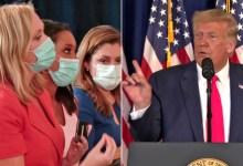 Foto de Trump abandona la conferencia de prensa después de que un periodista le pregunta sobre la mentira de Veterans Choice que le ha dicho más de 150 veces