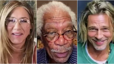 Foto de Jennifer Aniston, Brad Pitt y Morgan Freeman causan revuelo en la lectura de Fast Times at Ridgemont High