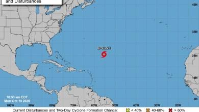 Foto de Tormenta Épsilon en el Caribe es vigilada por Protección Civil en Quintana Roo