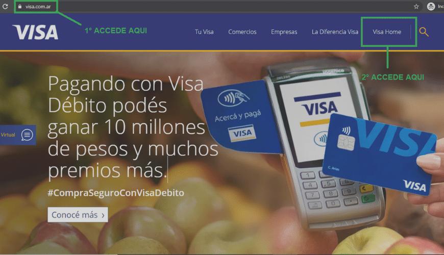 Acceso a la pagina de visa