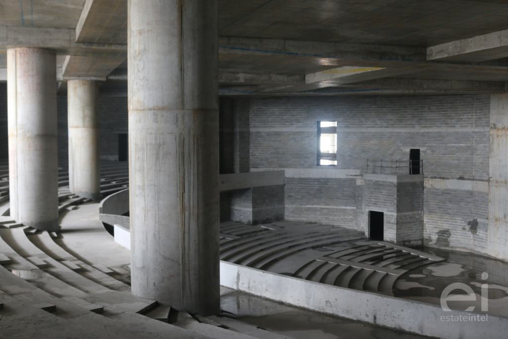 pillars and structure of Trinity Tower auditorium under construction