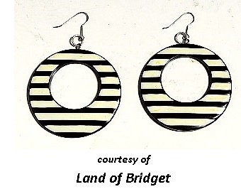 Mod Black and White earrings Cool Sixties Jewelry